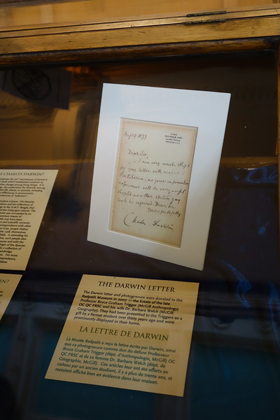 At the Redpath natural history museum (opened in 1882. A letter from Charles Darwin.