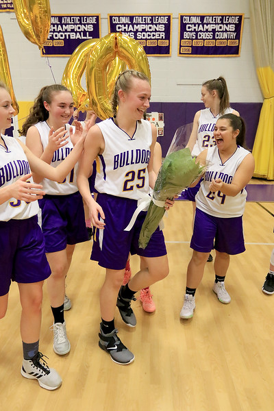 On senior night at Montachusett Regional Vocational Technical School the girls basketball team played Parker Charter School and during the game senior Monty Tech captain Erica  Regan scored 20 points to put her at 1,000 points in her career at the school. Regan is all smiles after scoring her 1,000 point. SENTINEL & ENTERPRISE/JOHN LOVE