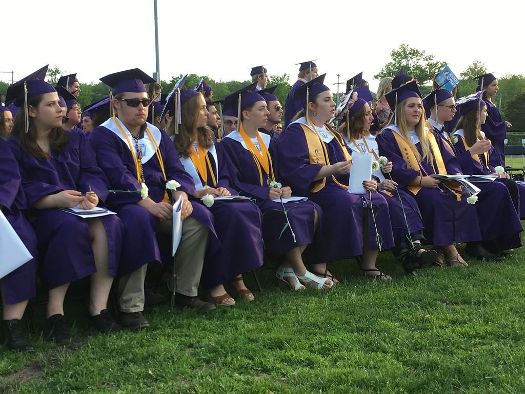 . Monty Tech graduates watched their classmates receive diplomas at commencement Wednesday evening. (SENTINEL & ENTERPRISE / AMANDA BURKE)