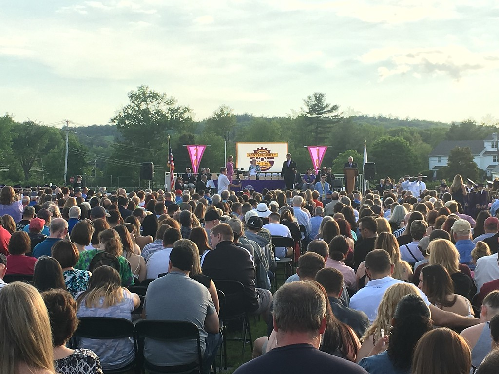 . Hundreds gathered at Montachusett Regional Vocational Technical School on Wednesday to watch students in the class of 2018 graduate. (SENTINEL & ENTERPRISE / AMANDA BURKE)