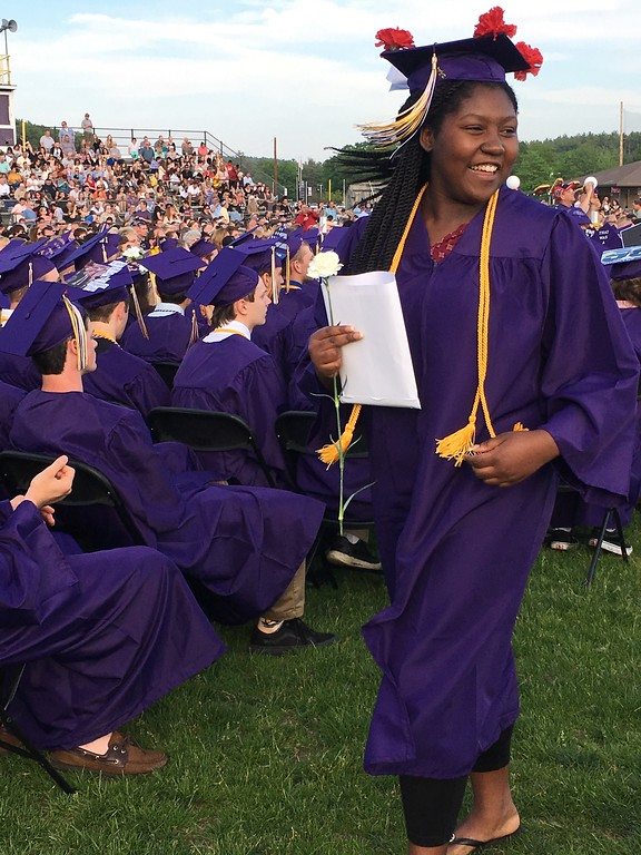 . LloyTessa Wright, of Westminster, who graduated Wednesday from Monty Tech\'s early childhood education program, smiles after walking the commencement stage.  (SENTINEL & ENTERPRISE / AMANDA BURKE)