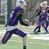 Montachusett Regional Vocational Technical School Football played Burncoat Senior High School on Saturday, March 20, 2021 at Oakmont Regional High School. Monty Tech's #6 T.J. Farr tries to run into the endzone for a two point conversion.  SENTINEL & ENTERPRISE/JOHN LOVE