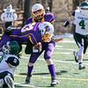 Montachusett Regional Vocational Technical School Football played Burncoat Senior High School on Saturday, March 20, 2021 at Oakmont Regional High School. Monty Tech's #83 Xander Carignan goes over BSHS's Jonah Familia.  SENTINEL & ENTERPRISE/JOHN LOVE