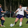 St. Bernard's Central Catholic High School girls soccer hosted Montachusett Regional Vocational Technical School on Tuesday afternoon at the school's Activity Center. Monty Tech #18 Hannah LaGrassa and St. B's #2 Hadleigh Bigelow. SENTINEL & ENTERPRISE/JOHN LOVE