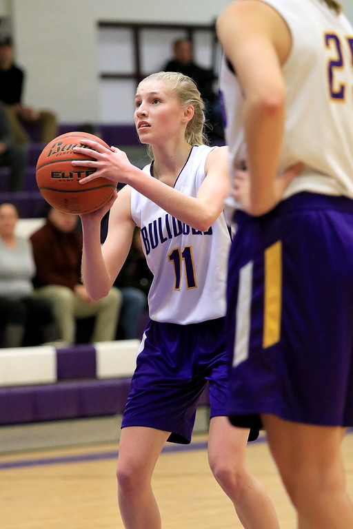 . Montachusett Regional Vocational Technical School\'s girls basketball played Bay PathRegional Vocational Technical High School on Thursday night in Fitchburg. Monty Tech\'s Emily St. Thomas gets ready to shoot a foul shot during the game. SENTINEL & ENTERPRISE/JOHN LOVE