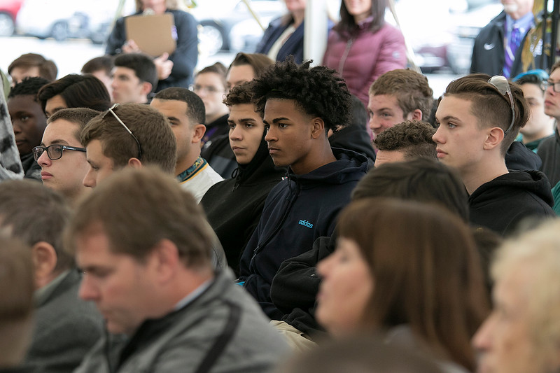 Montachusett Regional Vocational Technical High School in Fitchburg held a ribbon cutting ceremony for their new Automation, robotics, and Mechatronics Lab on Tuesday, Oct. 22, 2019. Students listen to the speakers at the ceremony. SENTINEL & ENTERPRISE/JOHN LOVE