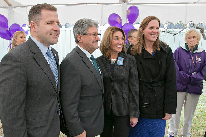 Montachusett Regional Vocational Technical High School in Fitchburg held a ribbon cutting ceremony for their new Automation, robotics, and Mechatronics Lab on Tuesday, Oct. 22, 2019. From left at the ribbon cutting is President and CEO of the North Central MA Chamber of Commerce Roy Nascimento, Fitchburg Mayor Stephen DiNatale, Lt. Gov. Karyn Polito and Monty Tech Superintendent Sheila Harrity. SENTINEL & ENTERPRISE/JOHN LOVE