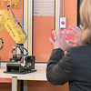 Montachusett Regional Vocational Technical High School in Fitchburg held a ribbon cutting ceremony for their new Automation, robotics, and Mechatronics Lab on Tuesday, Oct. 22, 2019. LT. Gov. Karyn Polito got a tour of the lab after the ribbon cutting. Here she watches a six axis FANUC robot as it moves objects in the lab. SENTINEL & ENTERPRISE/JOHN LOVE
