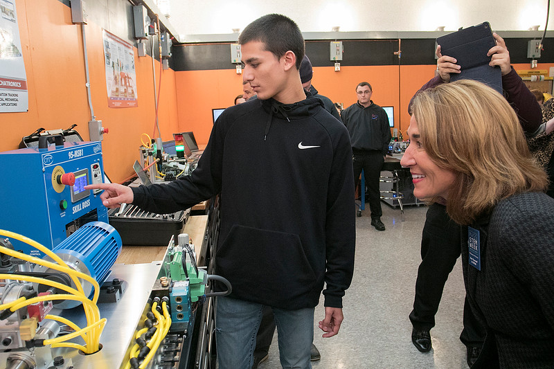 Montachusett Regional Vocational Technical High School in Fitchburg held a ribbon cutting ceremony for their new Automation, robotics, and Mechatronics Lab on Tuesday, Oct. 22, 2019. After the ribbon cutting Lt. Gov. Karyn Polito took a tour of the lab. Here she chats with senior Erick Soto as he explains one of the machines they are learning to program in the new lab. SENTINEL & ENTERPRISE/JOHN LOVE