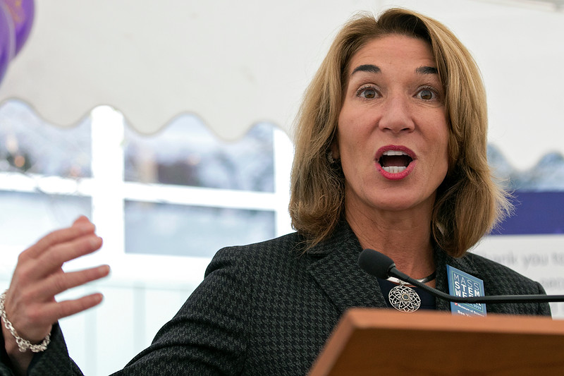 Montachusett Regional Vocational Technical High School in Fitchburg held a ribbon cutting ceremony for their new Automation, robotics, and Mechatronics Lab on Tuesday, Oct. 22, 2019. Lt. Gov. Karyn Polito addresses the crowd at the ribbon cutting. SENTINEL & ENTERPRISE/JOHN LOVE