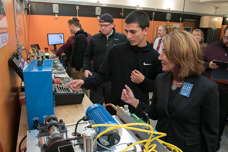 Montachusett Regional Vocational Technical High School in Fitchburg held a ribbon cutting ceremony for their new Automation, robotics, and Mechatronics Lab on Tuesday, Oct. 22, 2019. SENTINEL & ENTERPRISE/JOHN LOVE