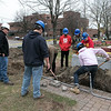 Montachusett Regional Vocational Technical School electrical students where digging a trench in front of the Fitchburg firefighters monument on the Upper Common to put in accent lighting for the monument. It should be done in time for Firefighter Sunday which is the second Sunday in June where many cities and towns in the Commonwealth honor firefighters. The little bit of rain didn't stop them as they worked hard to get it done. SENTINEL & ENTERPRISE/JOHN LOVE