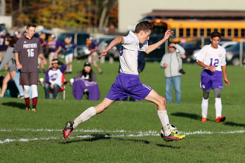 Ayer Shirley Regional High School boys soccer played Montachusett Regional Vocational Technical School on Tuesday in Fitchburg, October 31, 2017. Monty Tech's Sam Gunsalus gets control of the ball during action in the game. SENTINEL & ENTERPRISE/JOHN LOVE