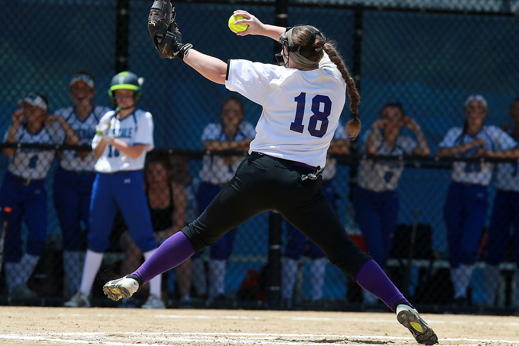 . Montachusett Regional Vocational Technical School Softball played Hopedale High School on Saturday afternoon (June 16, 2018) at Worcester State University for the Central Mass. Division 3 championship. Monty Tech pitcher Mallory LeBlanc winds up to deliver a pitch during the game. Hopedale won, 11-5. SENTINEL & ENTERPRISE/JOHN LOVE