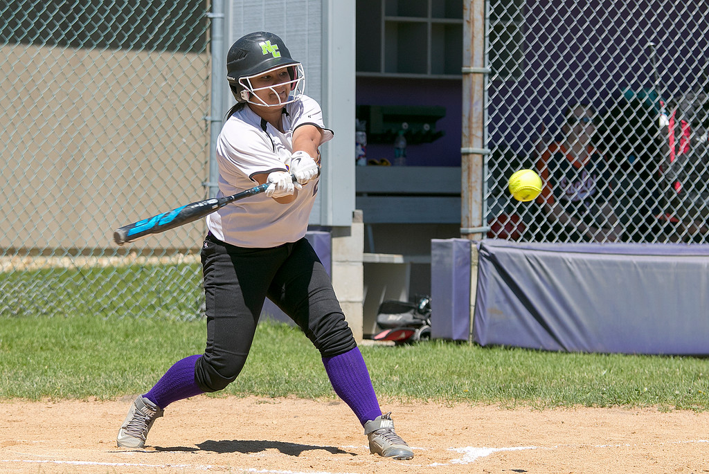 . Montachusett Regional Vocational Technical School softball played Advanced Math and Science Academy Charter School on Saturday morning, June 8, 2019 during the Central Mass. Division 3 first round Playoff game. Monty Tech\'s Amber Colcord swings at a pitch. SENTINEL & ENTERPRISE/JOHN LOVE