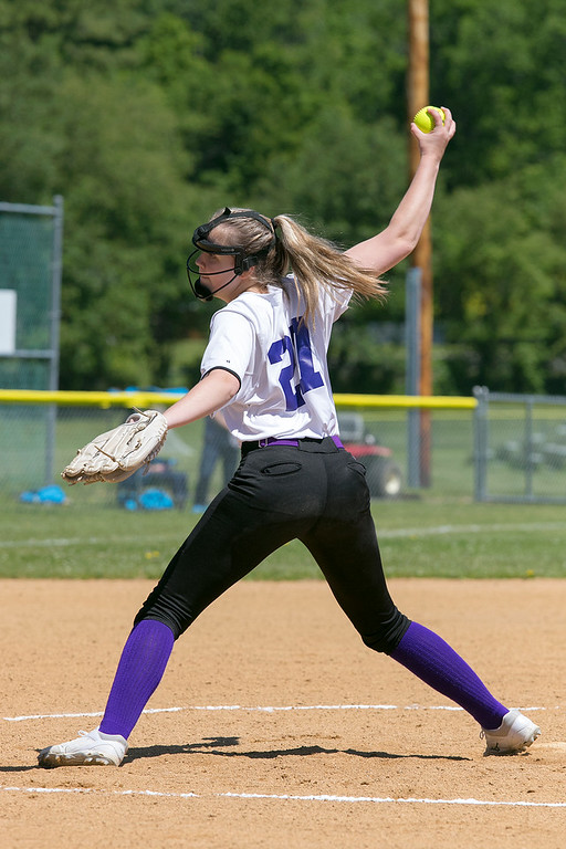 . Montachusett Regional Vocational Technical School softball played Advanced Math and Science Academy Charter School on Saturday morning, June 8, 2019 during the Central Mass. Division 3 first round Playoff game. Monty Tech pitcher Kristinna Sigurdsson winds up to deliver a pitch during the game. SENTINEL & ENTERPRISE/JOHN LOVE