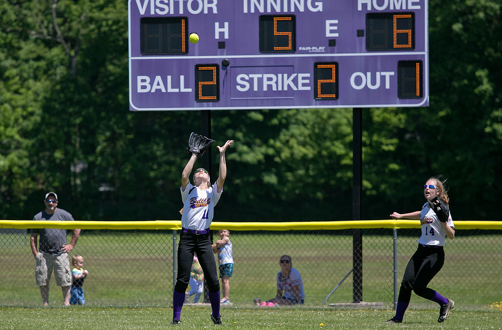 . Montachusett Regional Vocational Technical School softball played Advanced Math and Science Academy Charter School on Saturday morning, June 8, 2019 during the Central Mass. Division 3 first round Playoff game. Monty Tech\'s Kate Roseberry got under a pop up into center field for an out during action in the game. SENTINEL & ENTERPRISE/JOHN LOVE