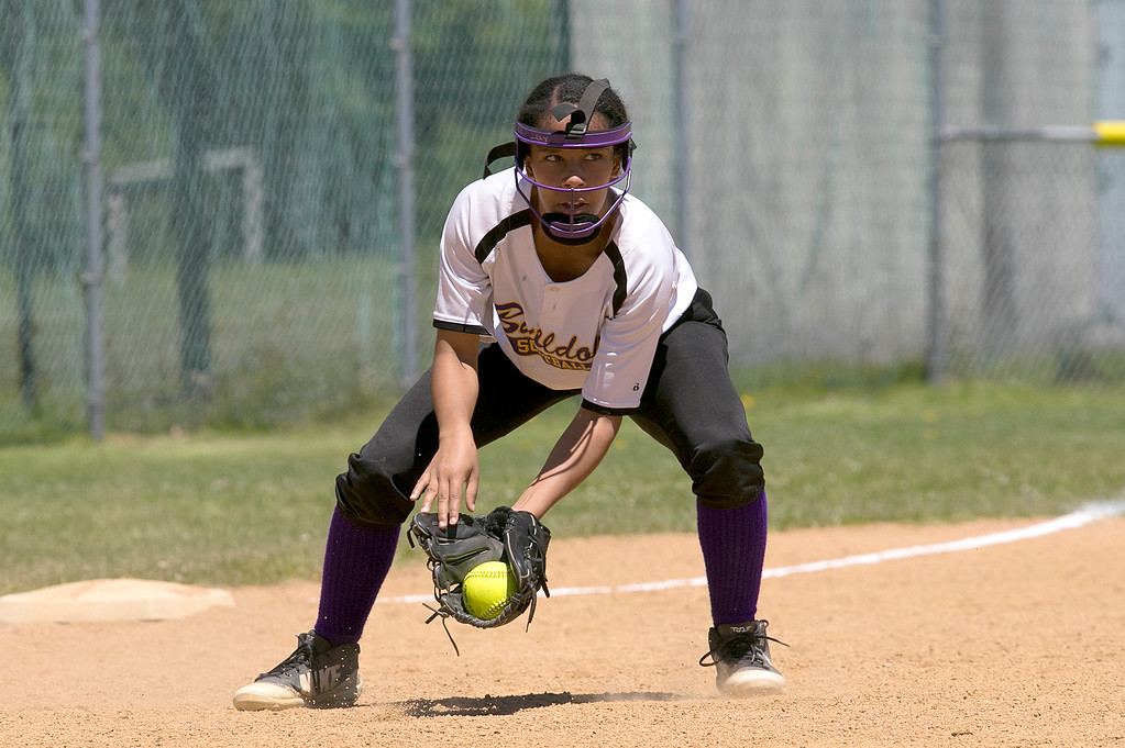 . Montachusett Regional Vocational Technical School softball played Advanced Math and Science Academy Charter School on Saturday morning, June 8, 2019 during the Central Mass. Division 3 first round Playoff game. Monty Tech\'s Izzy Stakley picks up a ground ball. SENTINEL & ENTERPRISE/JOHN LOVE