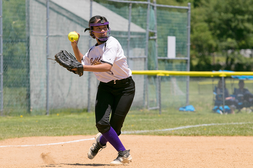. Montachusett Regional Vocational Technical School softball played Advanced Math and Science Academy Charter School on Saturday morning, June 8, 2019 during the Central Mass. Division 3 first round Playoff game. Monty Tech\'s Izzy Stakley picks up a ground ball and throws to first to try and get the batter out. SENTINEL & ENTERPRISE/JOHN LOVE