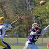Montachusett Regional Vocational Technical School football played Bay Path Regional Vocational Technical School on Saturday, Oct. 5, 2019. Monty Tech's #5 Cenceir Mills reaches for an over thrown ball to try and get an interception but it was just out of reach. SENTINEL & ENTERPRISE/JOHN LOVE