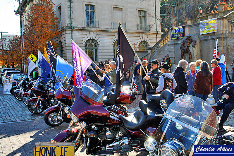 Flags and Harleys at the rally