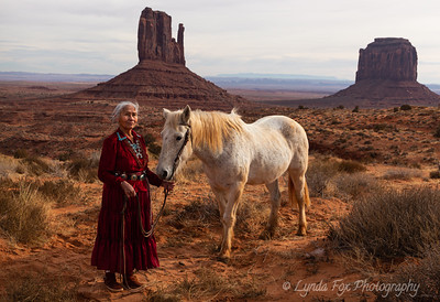 Navajo Elder Woman With Horse