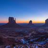 Sunrise on the Mittens. Monument Valley