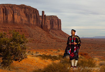 Young Navajo Woman & West Mitten