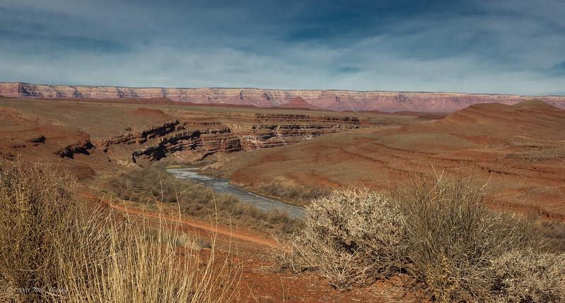 San Juan River & colors of the southwest. Monument Valley