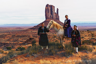 Three Navajo Women & Horse