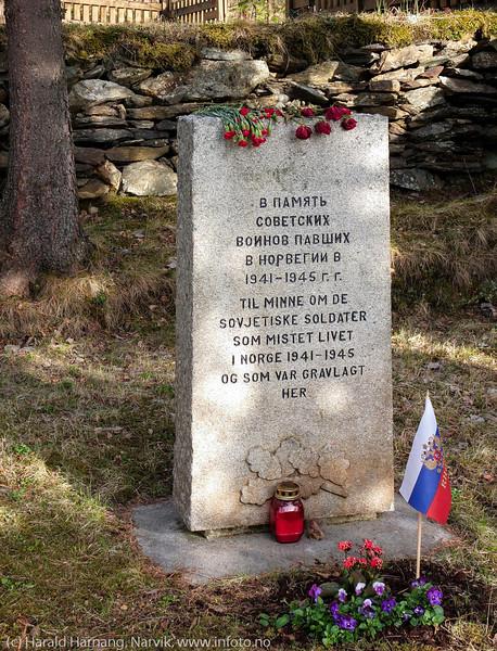 Minnelund på Furumoen til minne om sovjetiske soldate som mistet livet i Norge 1941-45.