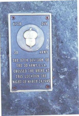 Boppard am Rein, Germany Plaque.<br /> The 87th Infantry Division crossed over the Rhine River on the night of March 24, 1945.