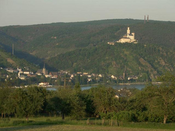 Another scene of the Medieval <br /> Marksburg Castle at Braubach on the Rhine as seen from Rhens....<br /> The Castle is almost across from Boppard..More opposite from Rhens.<br /> <br /> The 347th Regiment attempted and made crossings of the Rhine River March 25, 1945 - WWII.<br /> <br /> After crossing, elements of K,L,M-347 entered the castle.