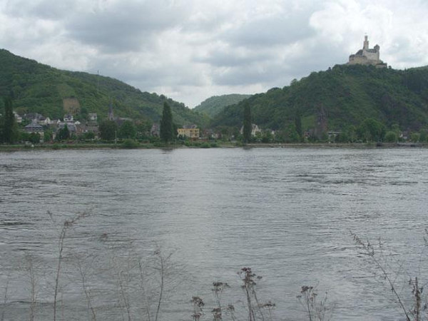 The  Medieval Marksburg Castle at Braubach on the Rhine River seen from Rhens and Brey where the 347th Regiment attempted  and made crossings of the Rhine River March 25, 1945 - WWII.<br /> <br /> After crossing, elements of K,L,M-347 entered the castle.