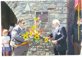 Dedication of the Shoup Memorial plaque - June - 1996.<br /> <br /> Sgt. Curtis Shoup plaque at Tillet, Belgium.<br /> Sgt. Shoup was awarded our country's highest Award, <br /> the CMH, for his sacrificial actions at Tillet. <br /> <br /> Shown (at left) are The Mayor of the Commune Ste. Ode and <br /> (at right) Robert Watson, the sole surviving Officer of I-346 after the battle for Tillet.<br /> <br /> Shoup and then Lt.Watson attended the same high school in Oswego, NY.