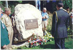 "Plaque on the boulder at ""Bloody Crossroads"", Pirompré, Belgium.<br /> June - 1996.<br /> Shown left in US Army uniform is Ross Rassmussen, A-912 FA, <br /> the 87th Infantry Division Historian."