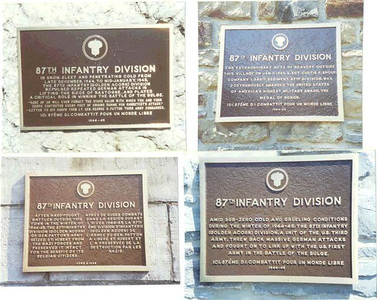 Four 87th Division Memorials dedicated at  Pirompré, Tillet, Moircy, and St. Hubert.   June 1996 – during the 87th Division Association Tour, led by Earle Hart, A-345.  As Monuments Committee chairman, Mitchell Kaidy; D-345, suggested the plaques, wrote all the texts for them, (some translated into French by Gilbert Stevenot of Rochefort), wrote nearly all the speeches, including those in French, (they were translated from English) and presided at the ceremonies in four villages.   Mr. Kaidy had the plaques made in Cincinnati and shipped as antiques  (to avoid duty) to Gilbert Stevenot.  The 87th Training Division was represented at the ceremonies, as was the U.S. ambassador.  U.S. fighter aircraft from Germany overflew the Bloody Crossroads ceremony, and over 1,000 Belgians attended-- a large number for a small nation!  Photo credit to: John E. McAuliffe; M-347  President of the Cent. Mass. Chapt-22 VBOB