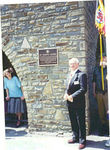 Robert Watson at the Shoup Memorial plaque on the Bell Tower at Tillet, Belgium, June - 1996.<br /> <br /> Bob Watson was Shoup's Company Commander in I-346,<br /> and was a career soldier, serving in the Korean War <br /> and State Side appointments. <br /> <br /> He retired with the rank of Colonel. <br /> <br /> Bob Watson died in the summer of 2006.