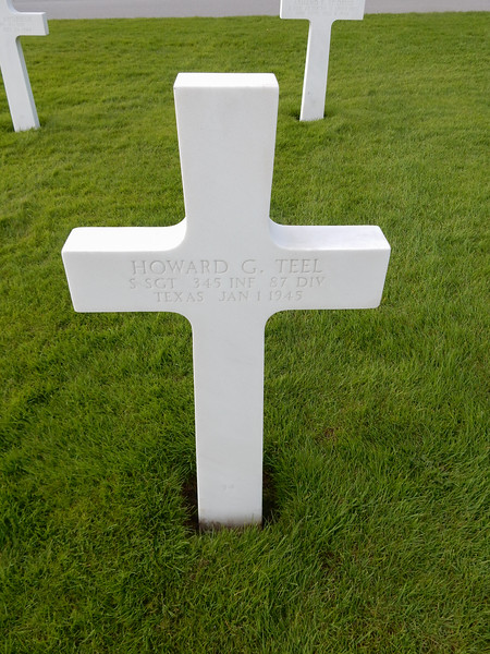 Howard G. Teel<br /> S SGT  345 INF  87 DIV<br /> Texas  Jan 1 1945