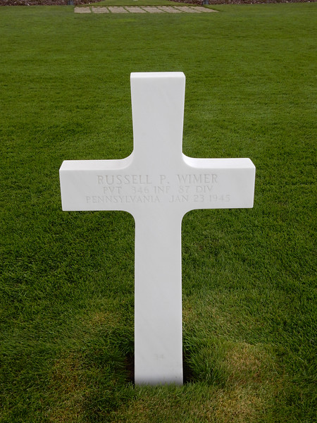 Russell P. Wimer<br /> PVT  346 INF  87 DIV<br /> Pennsylvania  Jan 23 1945