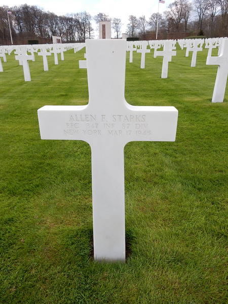Allen F. Starks<br /> PFC  347 INF  87 DIV<br /> New York  Mar 17 1945
