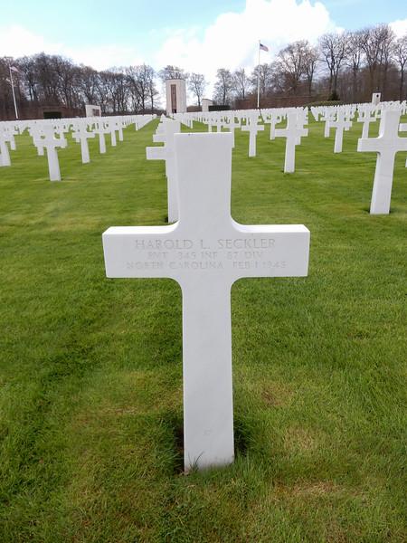 Harold L. Seckler<br /> PVT  345 INF  87 DIV<br /> North Carolina  Feb 1 1945