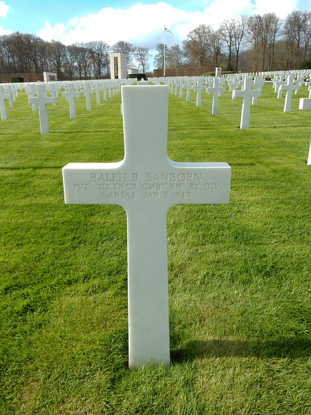 Ralph B. Sanborn<br /> PVT  312 ENGR CMBT BN  87 DIV<br /> Kansas  Jan 2 1945