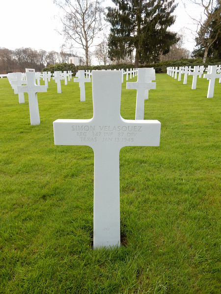 Simon Velasquez<br /> PFC  347 INF  87 DIV<br /> Texas  Jan 13 1945