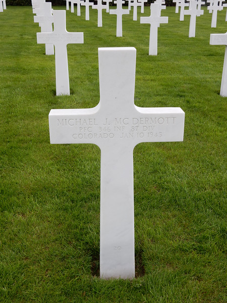 Michael J. McDermott<br /> PFC  346 INF  87 DIV<br /> Colorado  Jan 10 1945