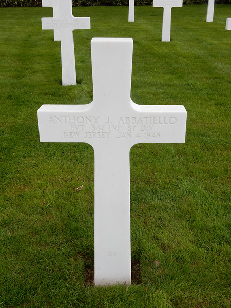 Anthony J. Abbatiello<br /> PVT  347 INF  87 DIV<br /> New Jersey  Jan 4 1945