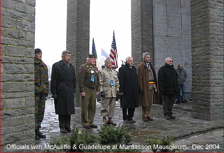 MARDASSON MEMORIAL - BASTOGNE, BELGIUM<br /> December 16, 2004<br /> VBOB Tour <br /> <br /> The Mayor of Bastogne is 2nd from right with the waist sash.