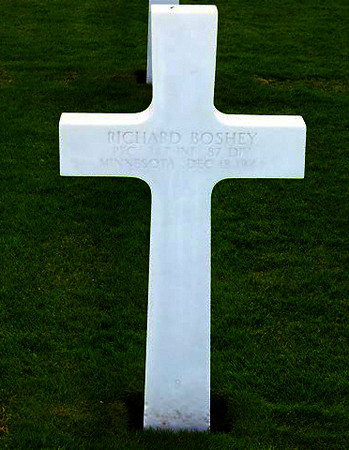 St. Avold - France<br /> <br /> RICHARD BOSHEY - Minnesota<br /> PFC;    347th Infantry Regiment<br /> 87th Division<br /> December 18, ____<br /> <br /> JUNE - 2007 - per email from Karen (Gorman) Baker.<br /> Her Dad (Edward J. Gorman) was in the 345th Regiment (Company G). <br /> Karen said she just received the most recent Golden Acorn News, <br /> and one of the stories reminded her husband that he had taken pictures of these grave markers while on a trip to Europe several years ago. <br /> They are from 2 different military cemeteries (Hamm in Luxembourg and St. Avold in France). <br /> <br /> There is also a photo of the 87th Division plaque at the Bastogne memorial. <br /> <br /> She wanted to pass them along in tribute....and to anyone who might be interested. <br /> If any family member of these men see this - please let us know.<br /> <br /> Thanks to wonderful people like the Gorman's - who pull out their pictures and send them to this site - for all to view.