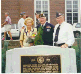 Shown at the monument is Jean Gavin, <br /> wife of the late General James Gavin,<br /> the famous Commander of the 82nd Airborne Division, WWII.<br /> <br /> Mrs. Gavin was the guest speaker at the Monument dedication.<br /> <br /> Middle is John McAuliffe, 87th Inf. Div. and Pres. of the Cent. Mass. Chapter-22 VBOB.<br /> <br /> Right is Herbert Adams, 504th P.I.R. of the 82nd Airborne Div.WWII and a Chapter member.