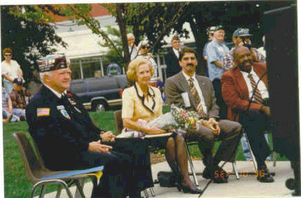 Shown on the dias (left to right) is:<br /> John McAuliffe, Mrs. Jean Gavin and <br /> Warren Rutherford, Hyannis Town Manager.